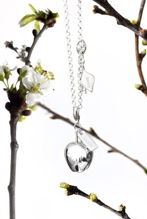 Necklace with Charm Apple & Apple leaf