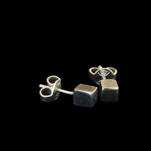 Earrings 925 Silver Cube