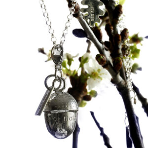 Necklace with charms Acorn & Small oakleaf