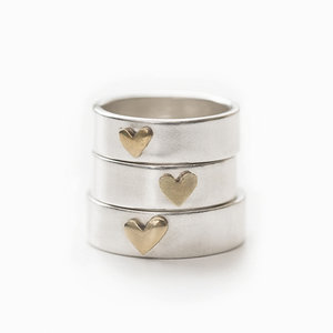 News Ring 925 Silver with Brass Heart